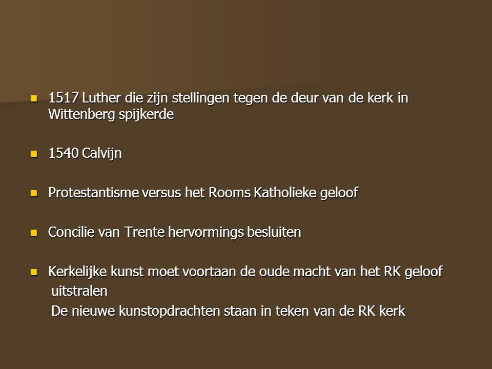 1517 Luther die zijn stellingen tegen de deur van de kerk in Wittenberg spijkerde