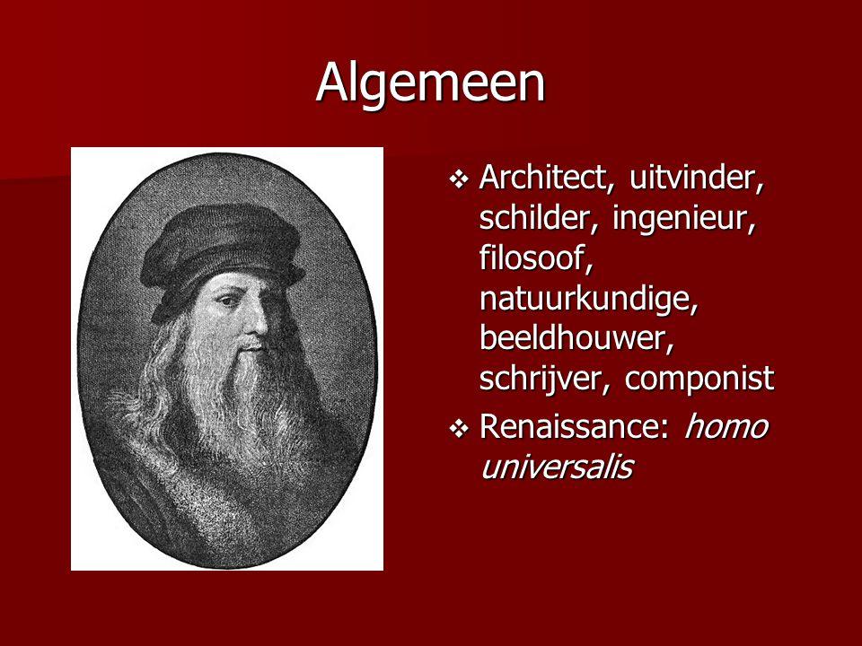 Algemeen Architect, uitvinder, schilder, ingenieur, filosoof, natuurkundige, beeldhouwer, schrijver, componist.