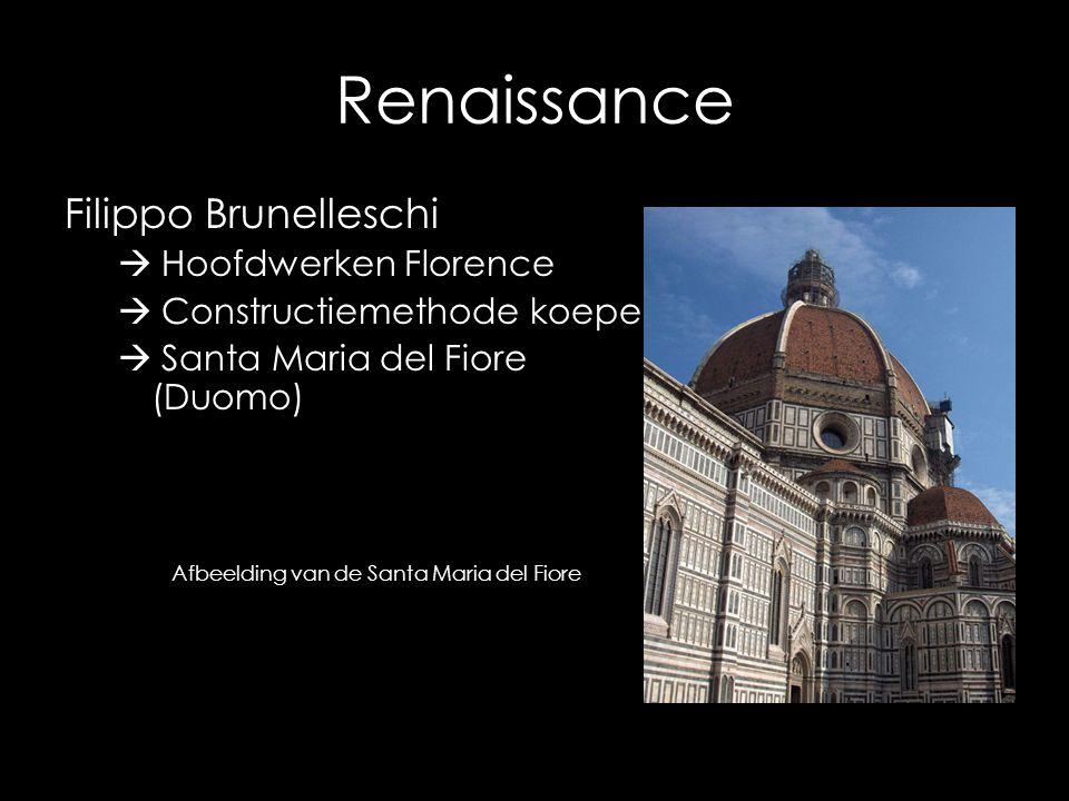 Renaissance Filippo Brunelleschi Hoofdwerken Florence