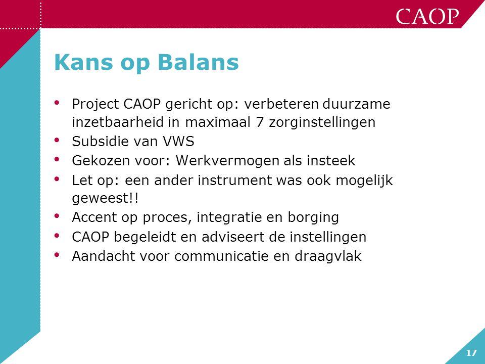 Kans op Balans Project CAOP gericht op: verbeteren duurzame inzetbaarheid in maximaal 7 zorginstellingen.
