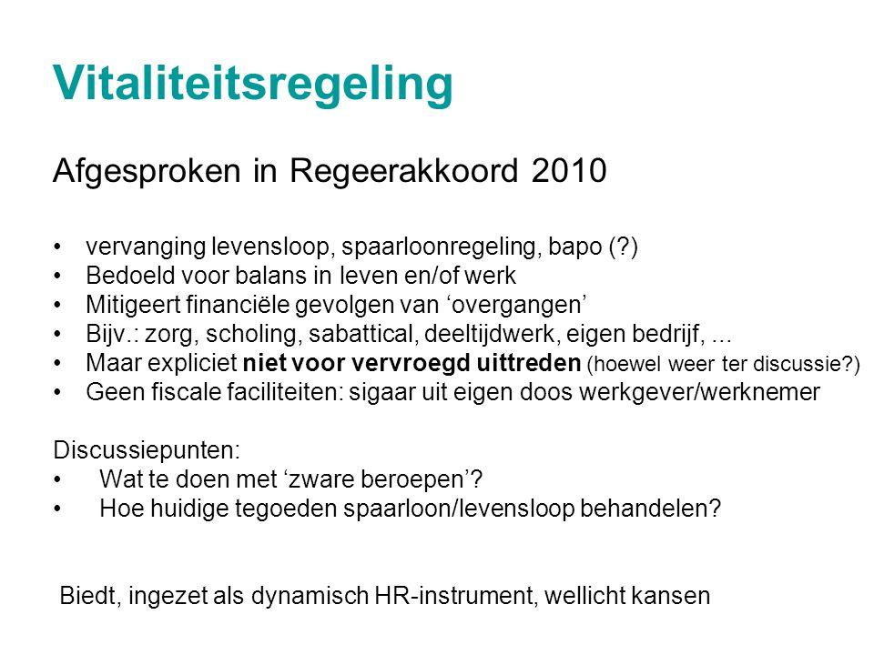 Vitaliteitsregeling Afgesproken in Regeerakkoord 2010