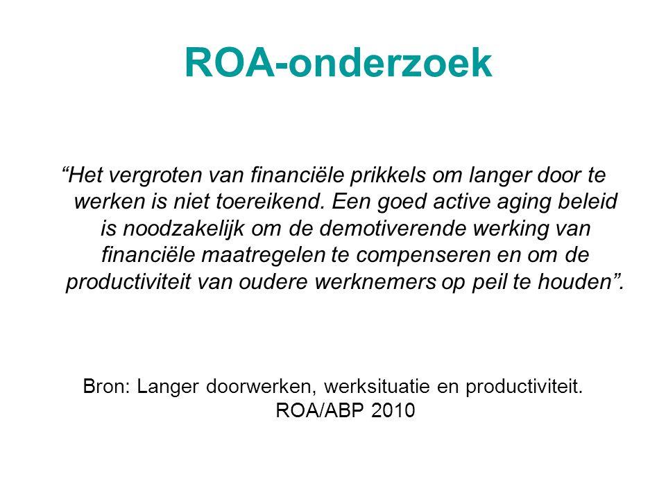 Bron: Langer doorwerken, werksituatie en productiviteit. ROA/ABP 2010