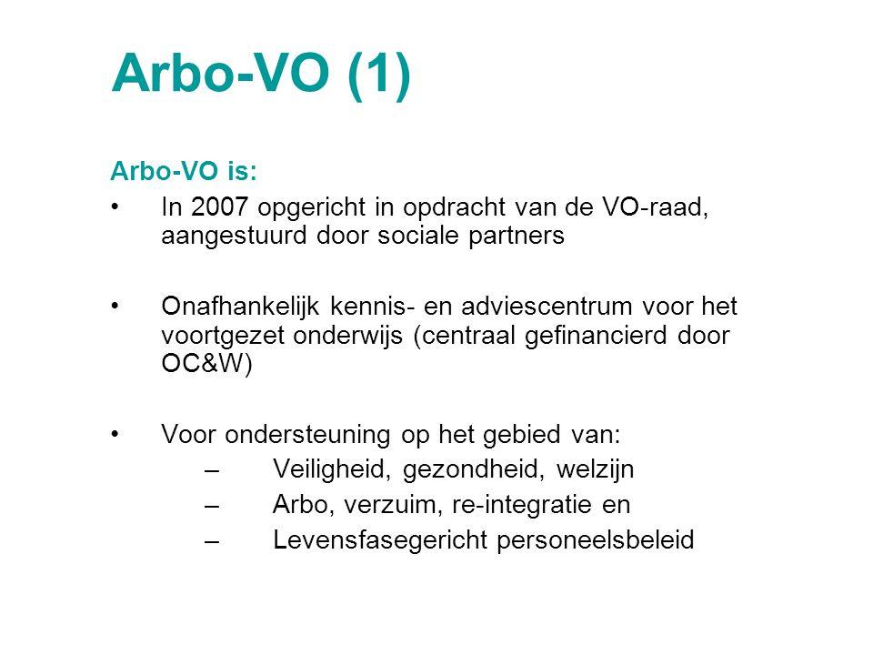 Arbo-VO (1) Arbo-VO is: In 2007 opgericht in opdracht van de VO-raad, aangestuurd door sociale partners.