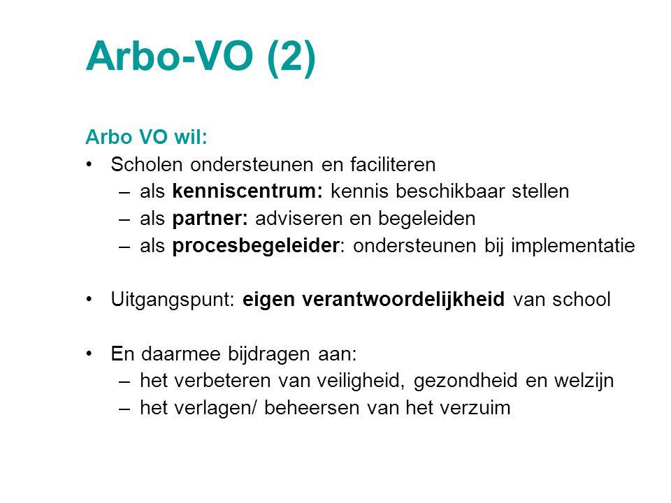 Arbo-VO (2) Arbo VO wil: Scholen ondersteunen en faciliteren