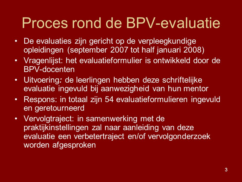 Proces rond de BPV-evaluatie