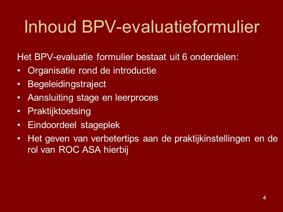 Inhoud BPV-evaluatieformulier