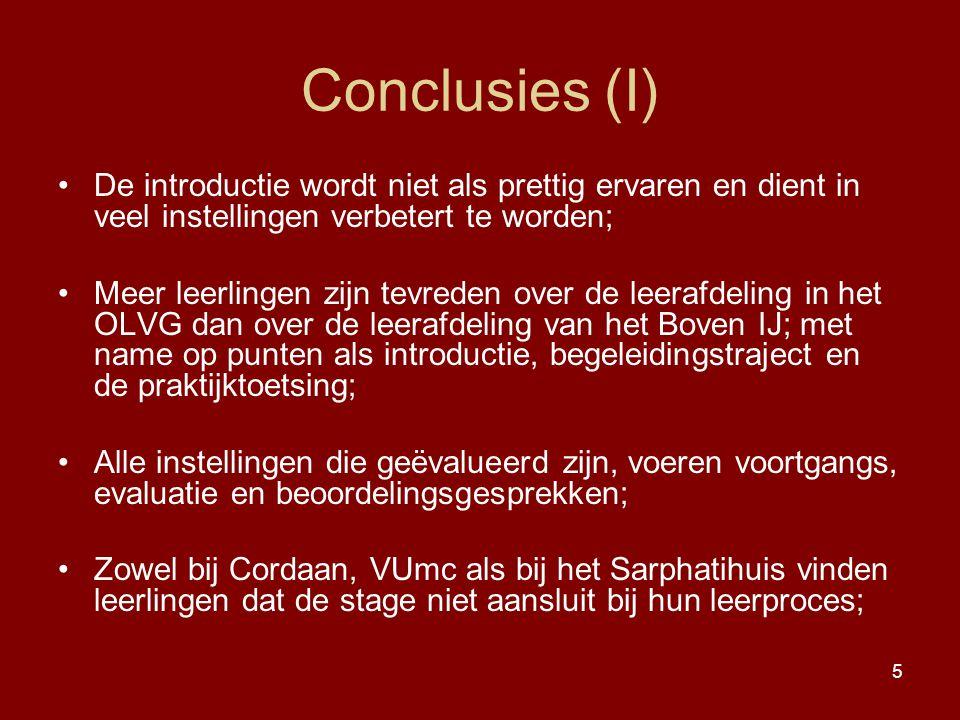 Conclusies (I) De introductie wordt niet als prettig ervaren en dient in veel instellingen verbetert te worden;