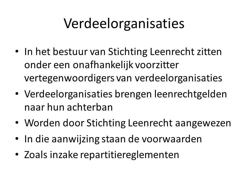 Verdeelorganisaties In het bestuur van Stichting Leenrecht zitten onder een onafhankelijk voorzitter vertegenwoordigers van verdeelorganisaties.