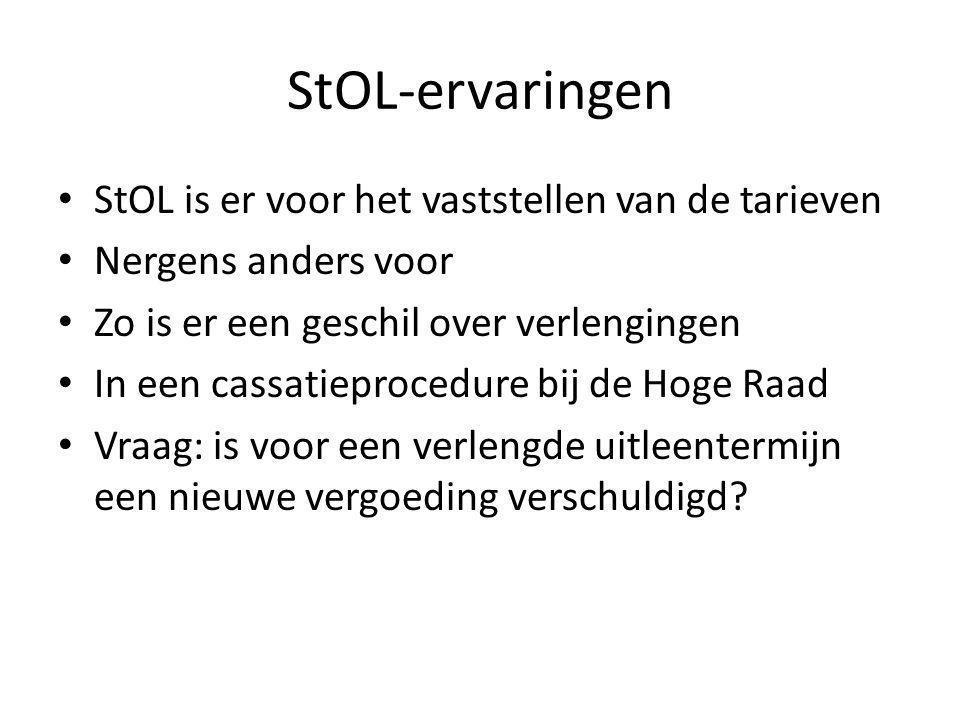 StOL-ervaringen StOL is er voor het vaststellen van de tarieven