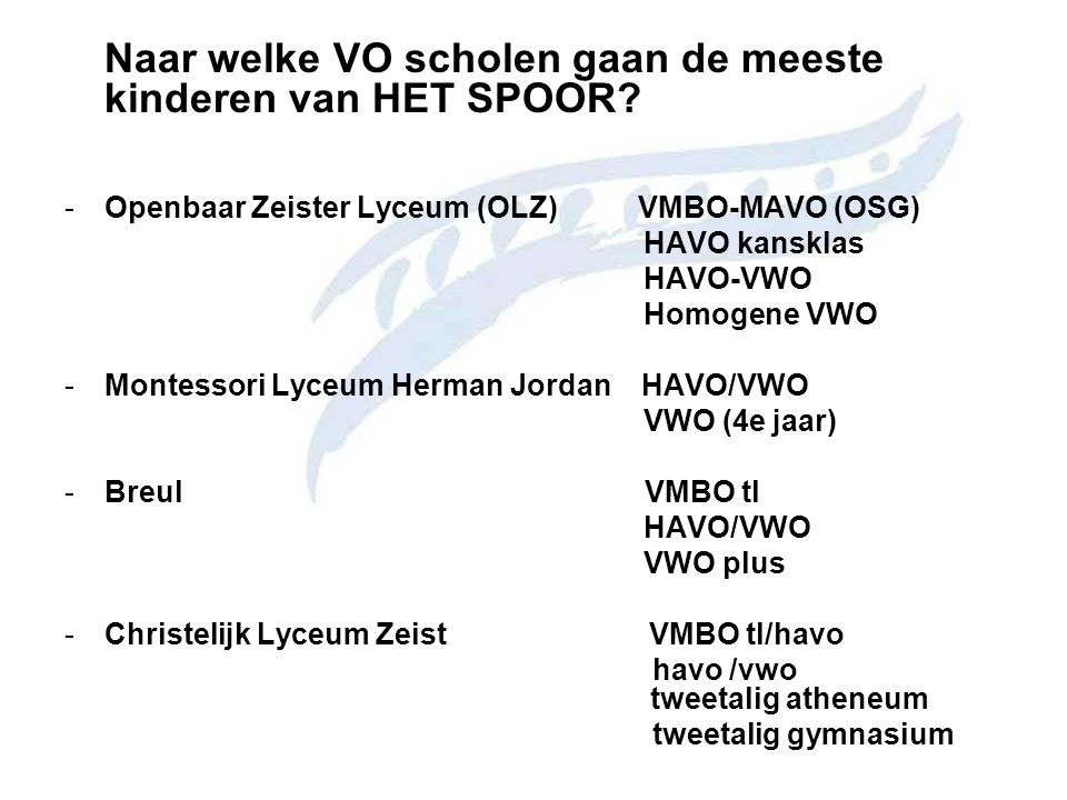 Openbaar Zeister Lyceum (OLZ) VMBO-MAVO (OSG) HAVO kansklas HAVO-VWO