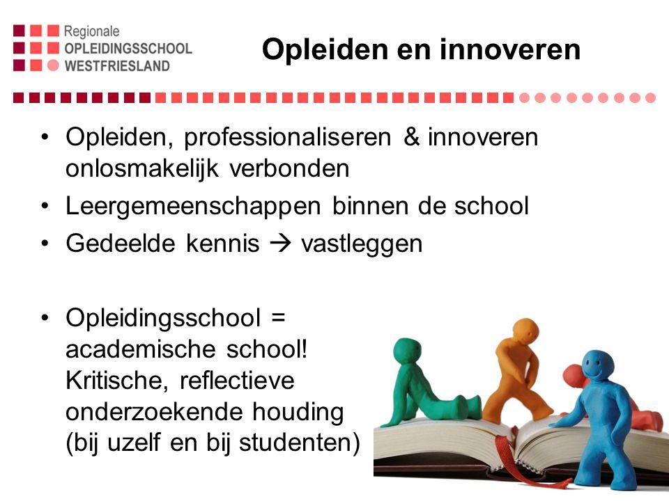 Opleiden en innoveren Opleiden, professionaliseren & innoveren onlosmakelijk verbonden. Leergemeenschappen binnen de school.