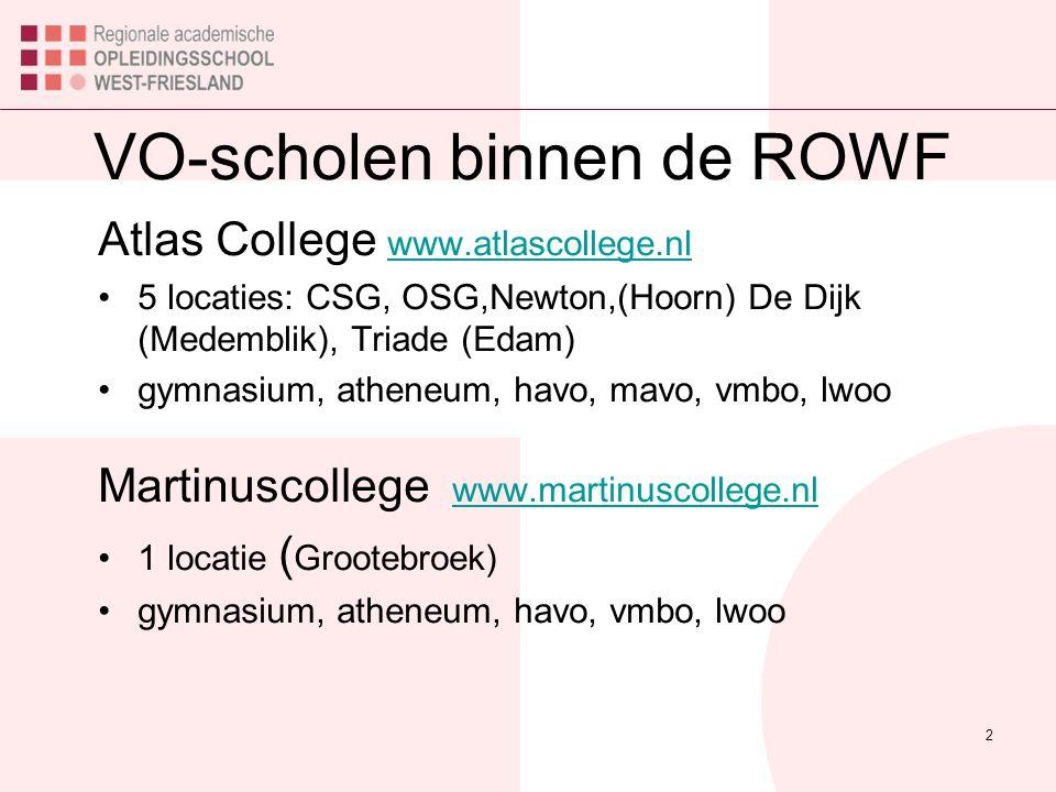 VO-scholen binnen de ROWF