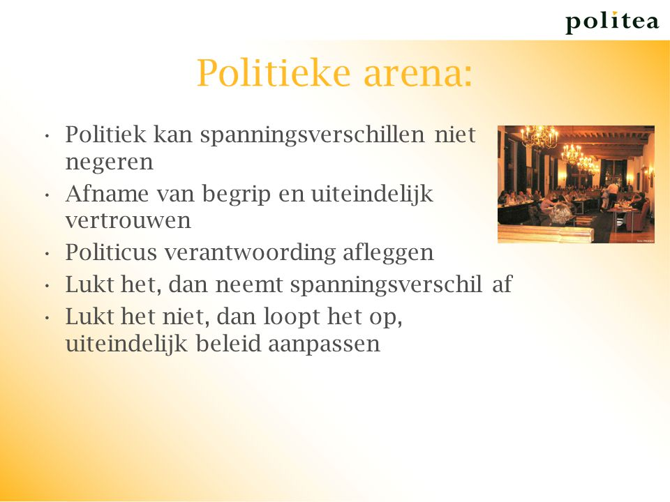 Politieke arena: Politiek kan spanningsverschillen niet negeren