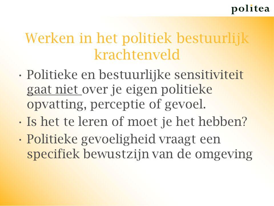 Werken in het politiek bestuurlijk krachtenveld