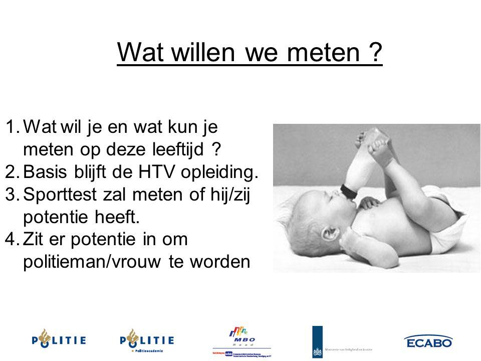 Wat willen we meten Wat wil je en wat kun je meten op deze leeftijd Basis blijft de HTV opleiding.