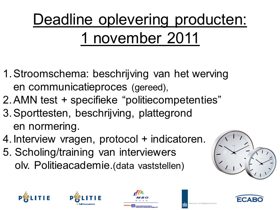 Deadline oplevering producten: