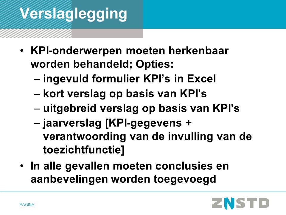 Verslaglegging KPI-onderwerpen moeten herkenbaar worden behandeld; Opties: ingevuld formulier KPI's in Excel.