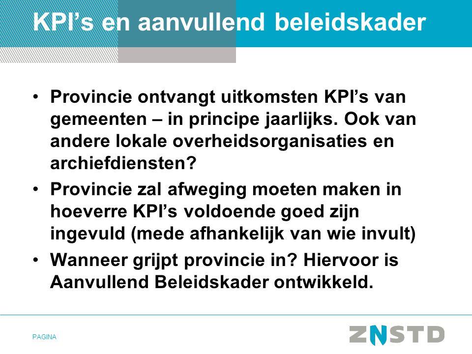 KPI's en aanvullend beleidskader
