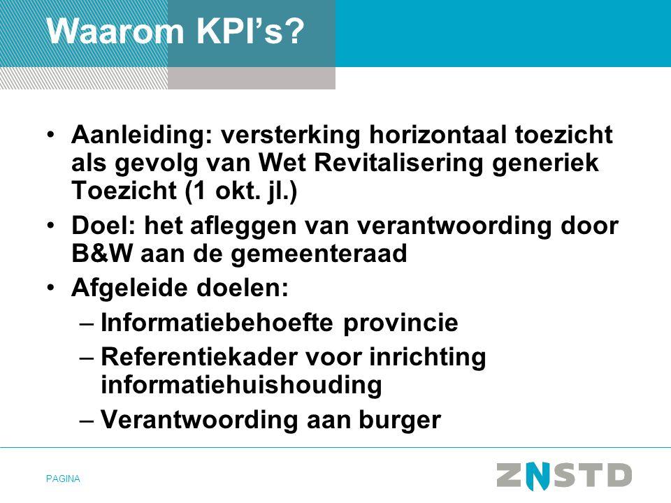 Waarom KPI's Aanleiding: versterking horizontaal toezicht als gevolg van Wet Revitalisering generiek Toezicht (1 okt. jl.)