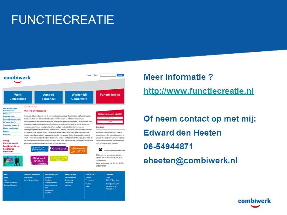 FUNCTIECREATIE Meer informatie .