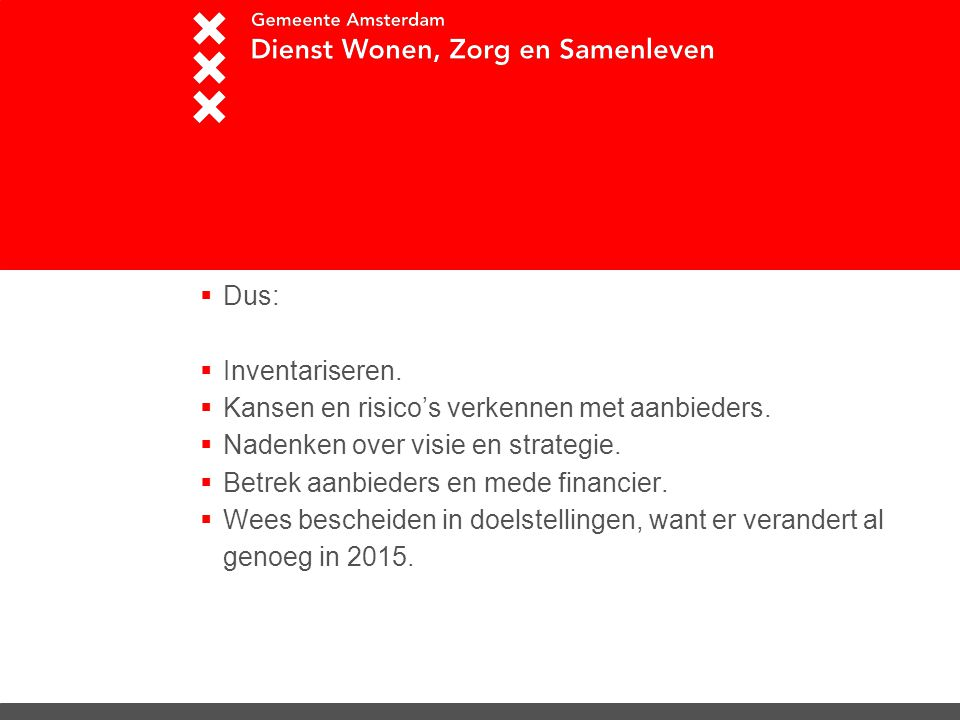 Strategie Dus: Inventariseren.