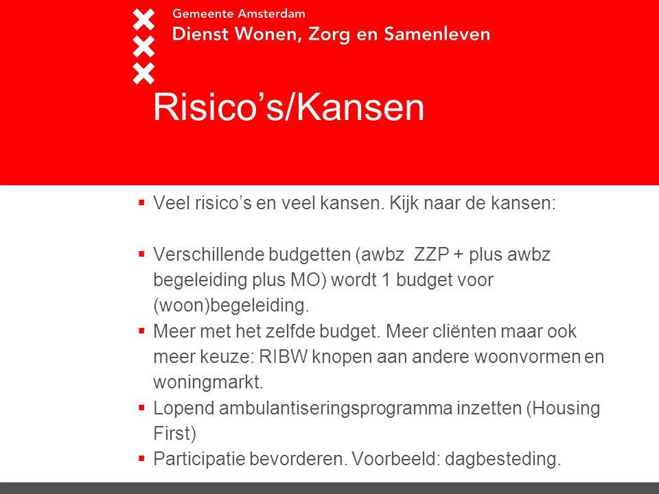 RRisico's/Kansen Veel risico's en veel kansen. Kijk naar de kansen: