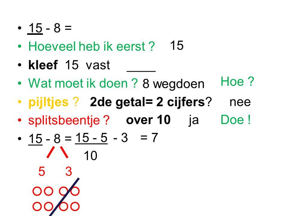 15 - 8 = Hoeveel heb ik eerst kleef 15 vast ____. Wat moet ik doen pijltjes 2de getal= 2 cijfers