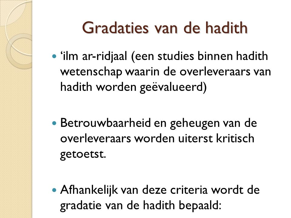 Gradaties van de hadith
