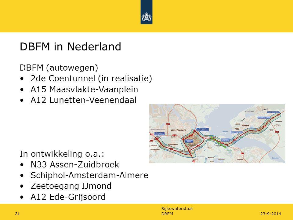 DBFM in Nederland DBFM (autowegen) 2de Coentunnel (in realisatie)