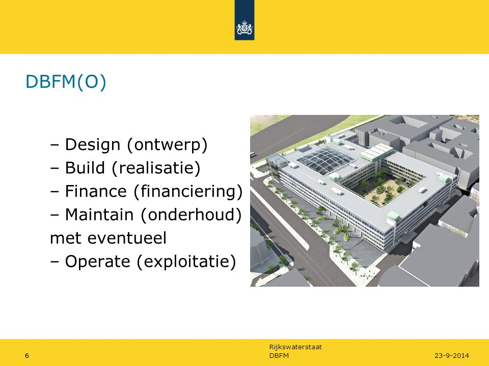 DBFM(O) Design (ontwerp) Build (realisatie) Finance (financiering)
