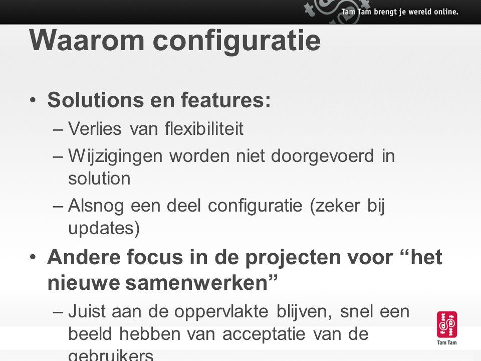 Waarom configuratie Solutions en features: