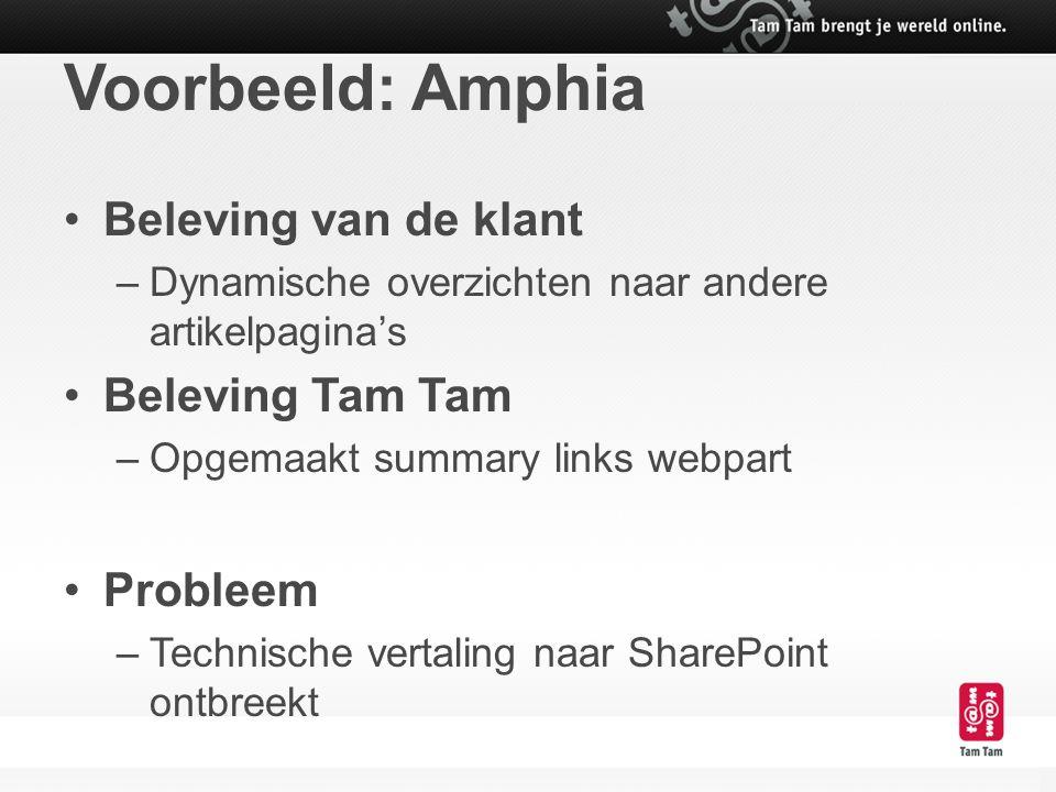 Voorbeeld: Amphia Beleving van de klant Beleving Tam Tam Probleem