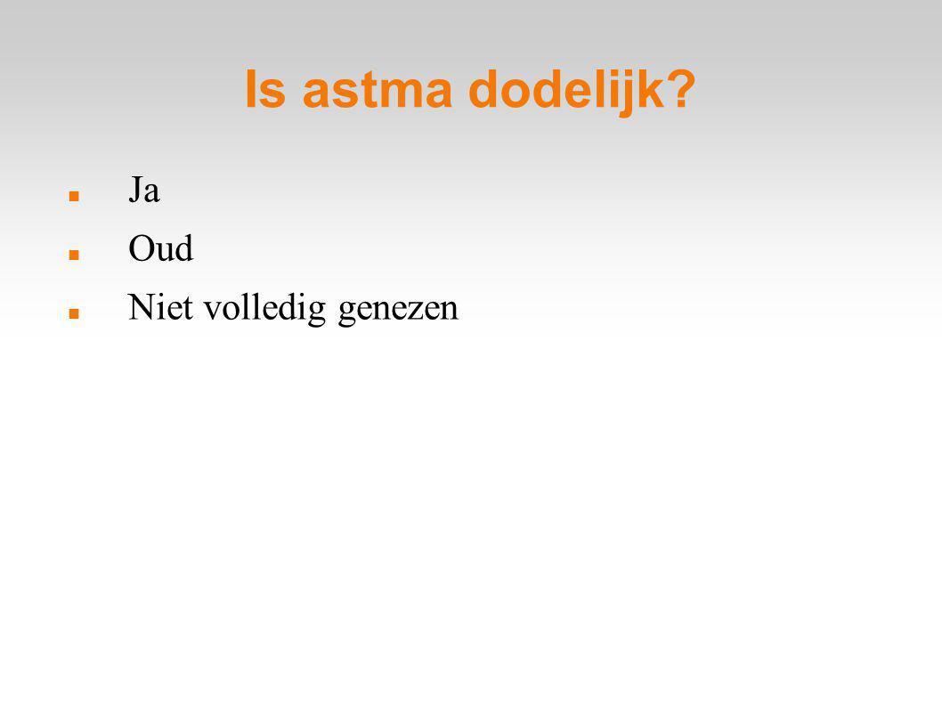 Is astma dodelijk Ja Oud Niet volledig genezen