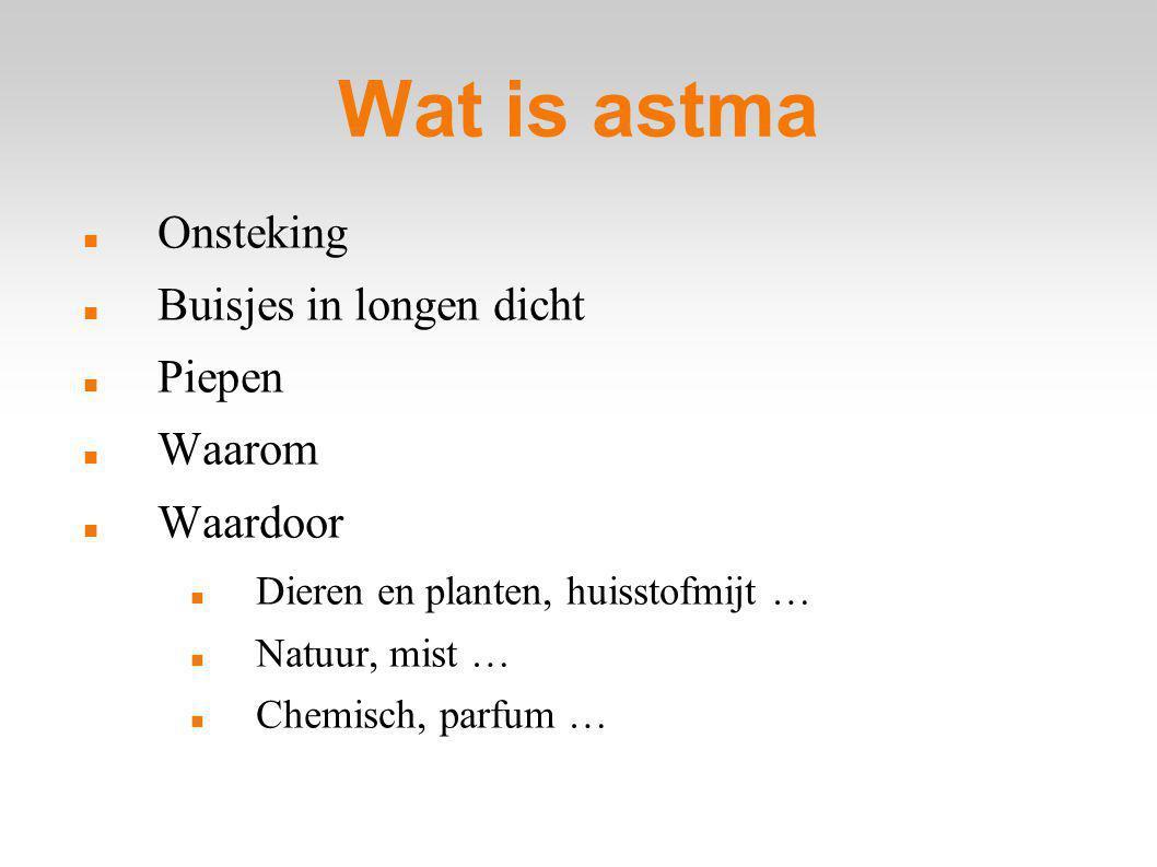 Wat is astma Onsteking Buisjes in longen dicht Piepen Waarom Waardoor