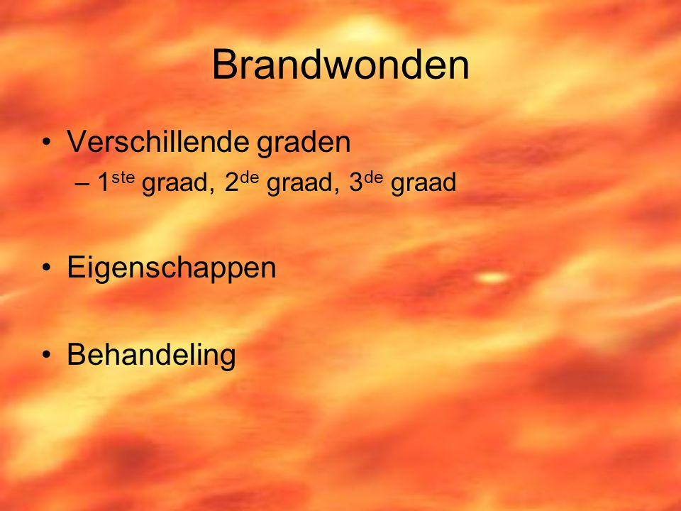 Brandwonden Verschillende graden Eigenschappen Behandeling