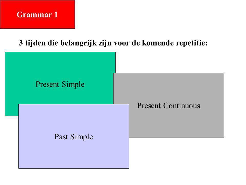 Grammar 1 3 tijden die belangrijk zijn voor de komende repetitie: Present Simple. Present Continuous.