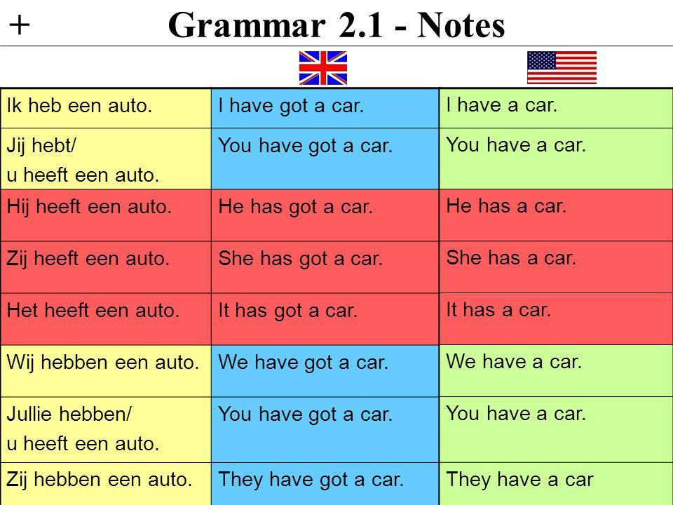 Grammar 2.1 - Notes + Ik heb een auto. I have got a car. Jij hebt/