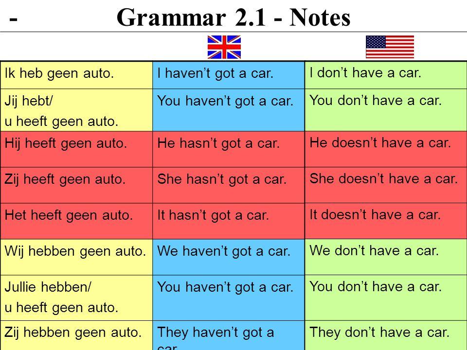 Grammar 2.1 - Notes - Ik heb geen auto. I haven't got a car. Jij hebt/