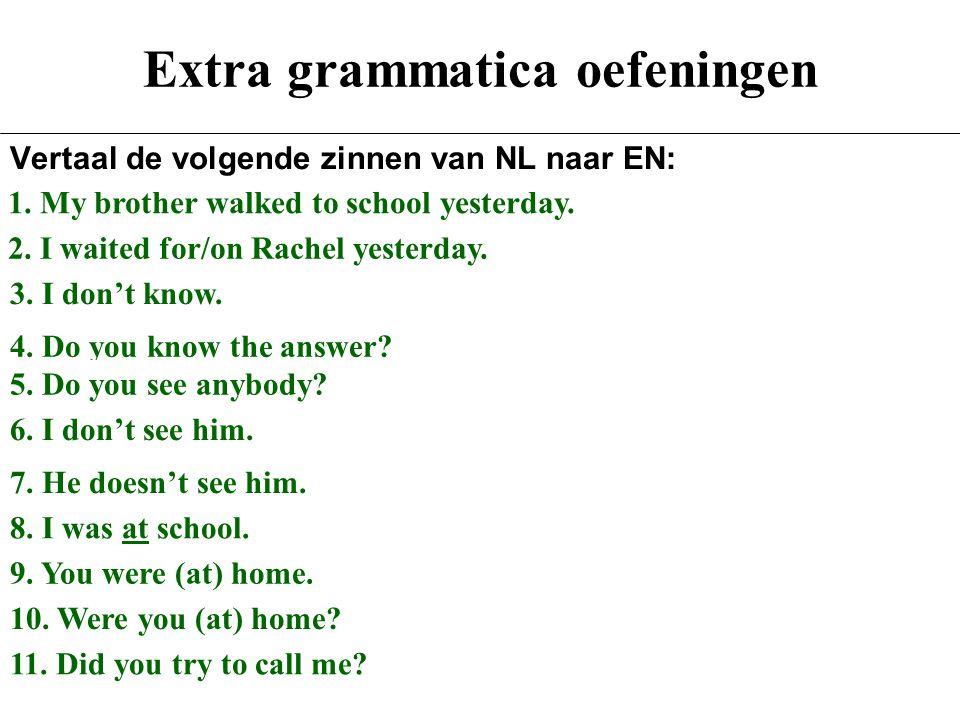 Extra grammatica oefeningen