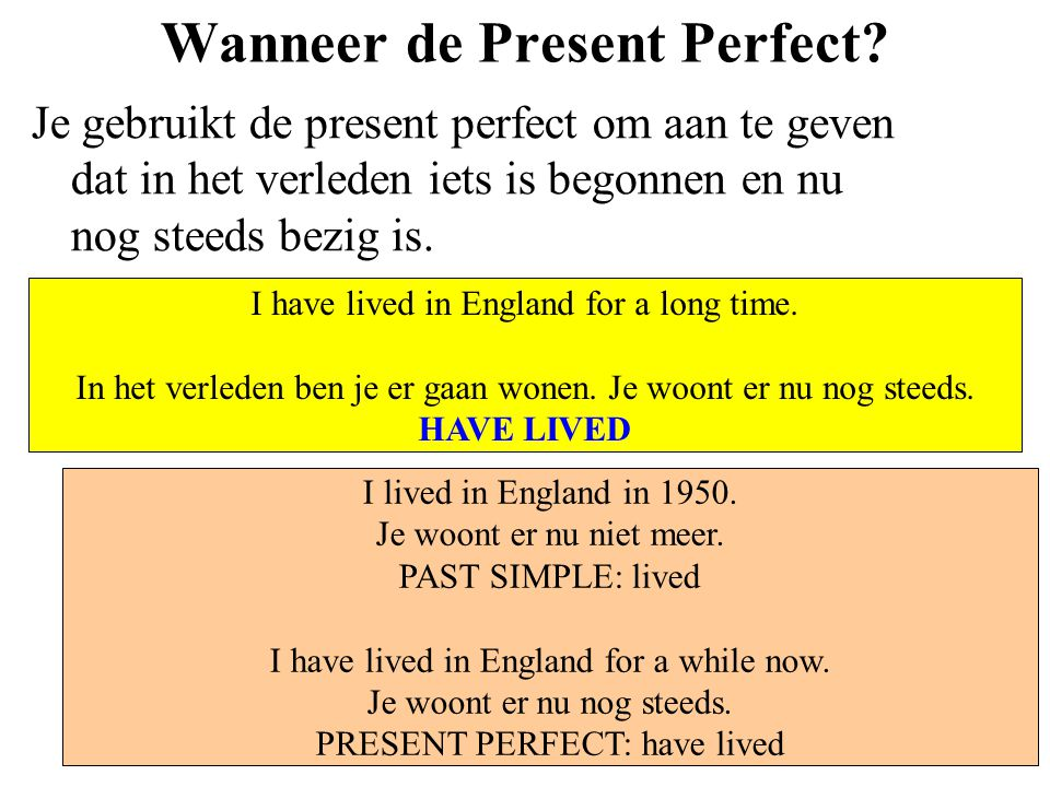 Wanneer de Present Perfect