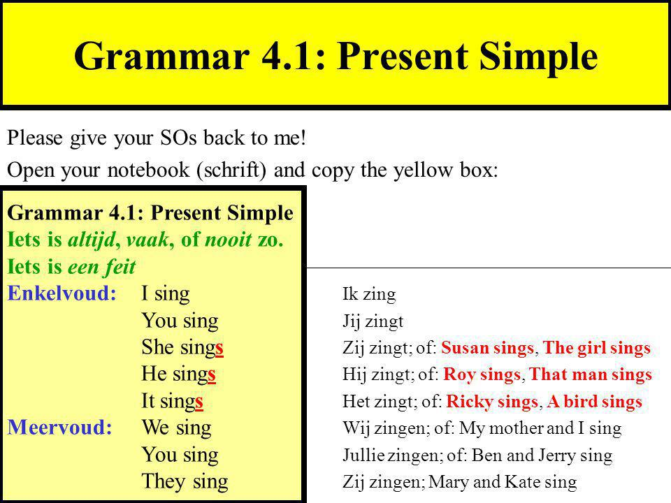 Grammar 4.1: Present Simple