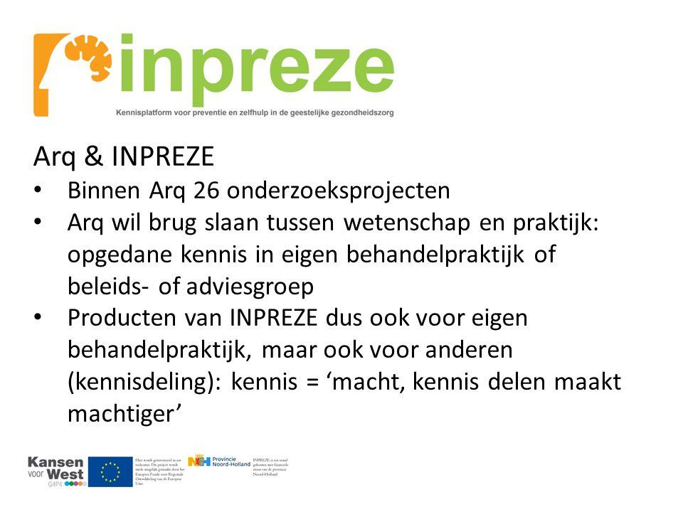 Arq & INPREZE Binnen Arq 26 onderzoeksprojecten