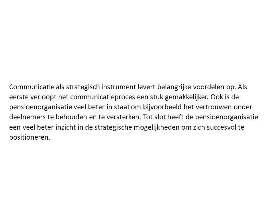 Communicatie als strategisch instrument levert belangrijke voordelen op. Als