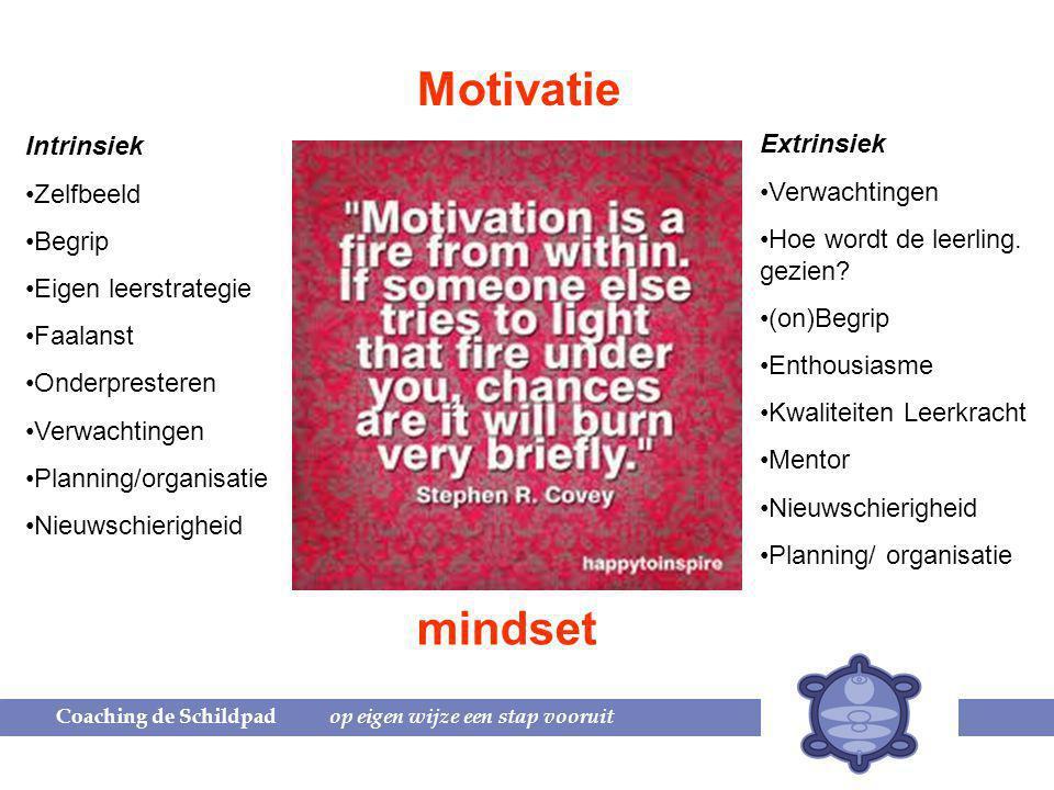 Motivatie mindset Intrinsiek Extrinsiek Zelfbeeld Verwachtingen Begrip
