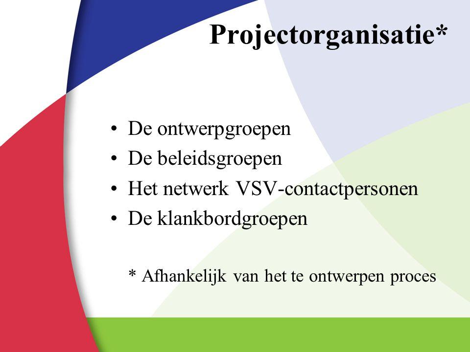 Projectorganisatie* De ontwerpgroepen De beleidsgroepen