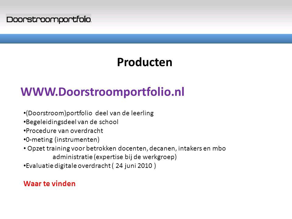 Producten Waar te vinden WWW.Doorstroomportfolio.nl