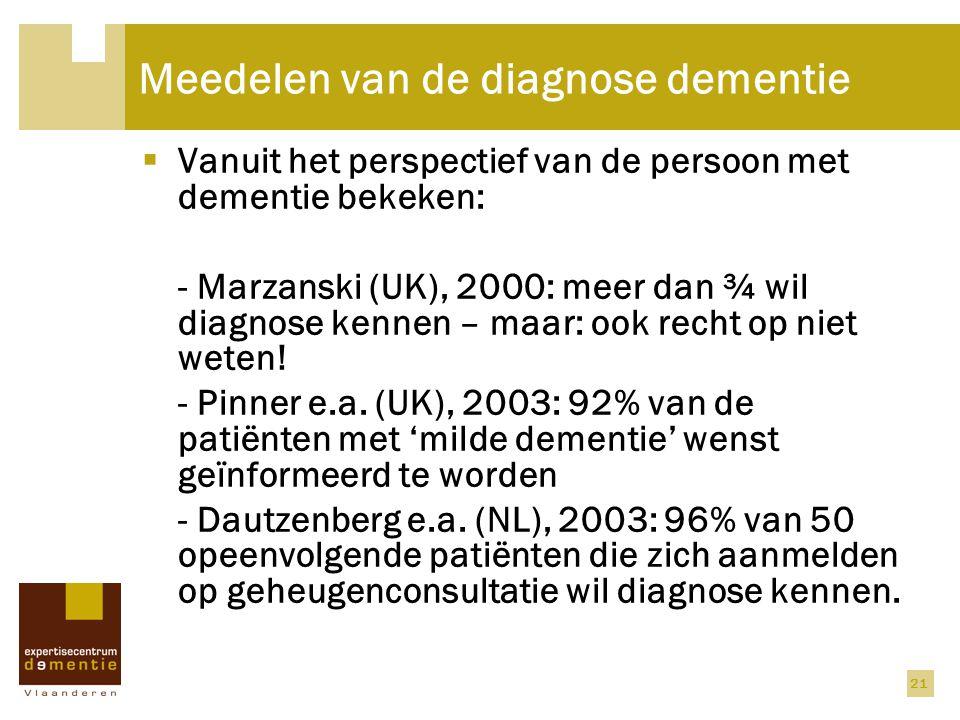 Meedelen van de diagnose dementie