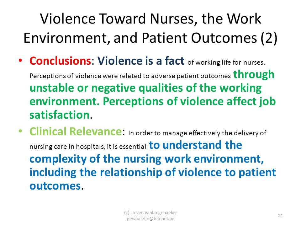 Violence Toward Nurses, the Work Environment, and Patient Outcomes (2)
