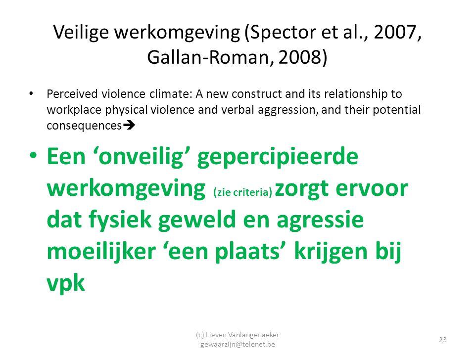 Veilige werkomgeving (Spector et al., 2007, Gallan-Roman, 2008)