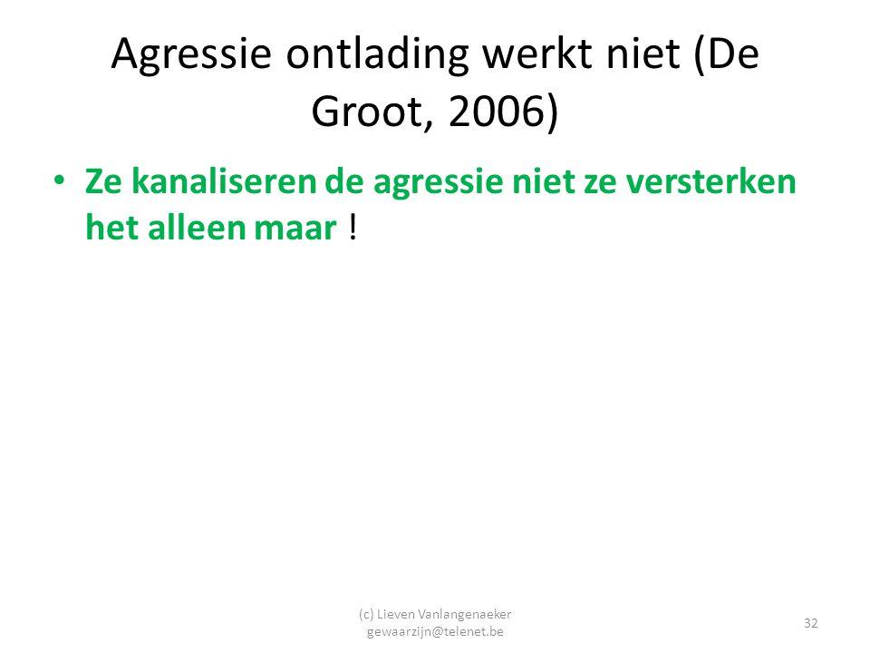 Agressie ontlading werkt niet (De Groot, 2006)